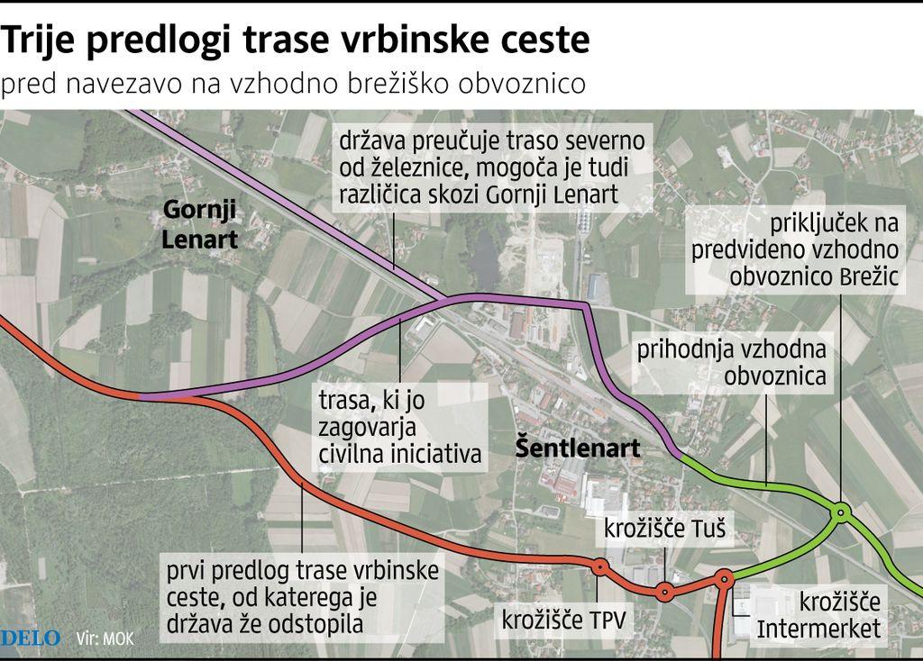 Načrtovanje Vrbinske ceste spet na začetku
