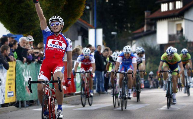Podsmreka 21.10. 2012 kolesarka dirka VN Avtomojster. Zmagovalec Marko Kump. Foto: ALESS CCERNIVEC/dELO