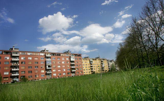 Slovenija, Ljubljana, 19.06.2005 , Savsko naselje v Ljubljani; bloki zelenica in drevored ob Topniški ulici. FOTO: JURE ERŽEN/Delo