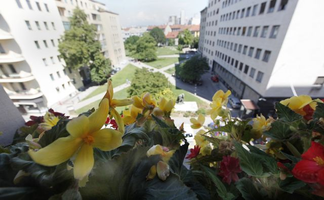 Stanovalka nebotičnika Ala Peče. V Ljubljani 9.8.2016[Ala Peče.balkoni.cvetje]