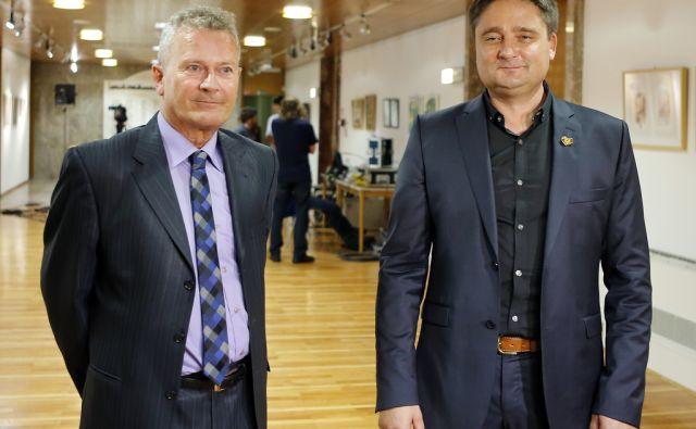 Kandidata za župana Mohor Bogataj in Boštjan Trilar v pričakovanju rezultatov. Kranj 19. oktober 2014.