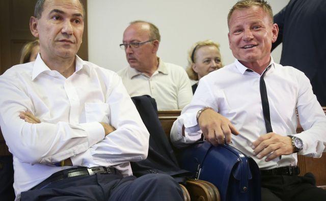 Janez Janša in Franci Matoz med obravnavo na Okrožnem sodišču v Ljubljani 7.julija 2014.