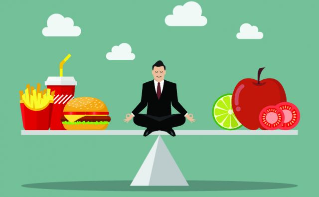 Man balancing between junk food and healthy food. Healthy lifestyle concept