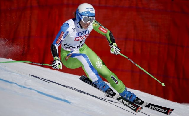 Slovenia's Ilka Stuhec competes during an alpine ski, women's World Cup super-G, in Cortina d'Ampezzo, Italy, Sunday, Jan. 29, 2017. (AP Photo/Domenico Stinellis)