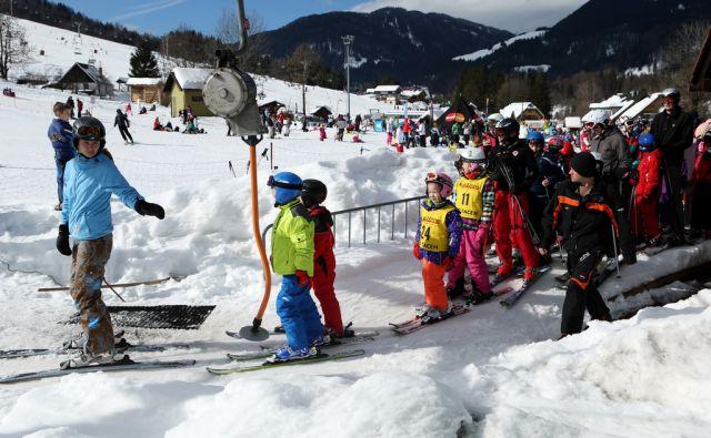 Prvi dan zimskih šolskih počitnic, v Kranjski gori, 15. februarja 2014.