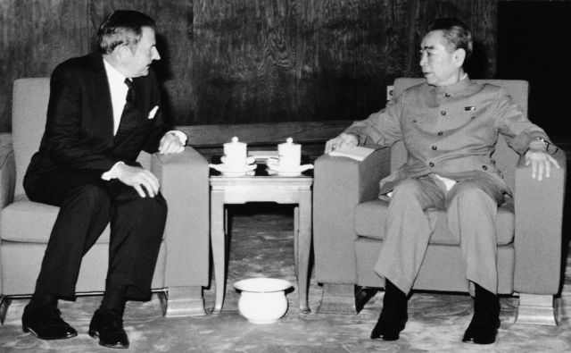 FILE - In this June, 1973 file photo, David Rockefeller, left, meets with with Chinese Premier Chou En-lai in Peking. The billionaire philanthropist has died. He was 101 years old. (AP Photo, File)