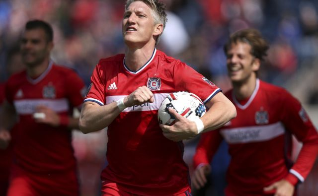 Chicago Fire midfielder Bastian Schweinsteiger (31) celebrates after scoring a goal in the first half of a game against the Montreal Impact at Toyota Park in Bridgeview on Saturday, April 1, 2017.  (Chris Sweda/Chicago Tribune)