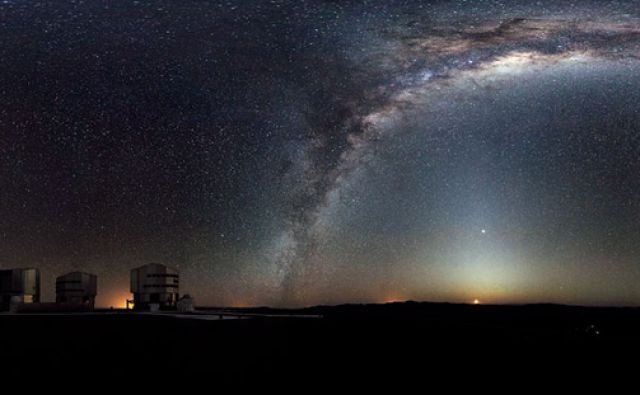 The Milky Way arches across this rare 360-degree panorama of the night sky above the Paranal platform, home of ESO's Very Large Telescope. The image was made from 37 individual frames with a total exposure time of about 30 minutes, taken in the early