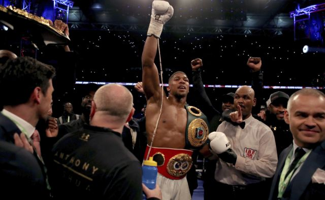 Anthony Joshua celebrates victory over Wladimir Klitschko during the IBF, WBA and IBO Heavyweight World Title bout against Anthony Joshua at Wembley Stadium, London. PRESS ASSOCIATION Photo. Picture date: Saturday April 29, 2017. See PA story BOXING