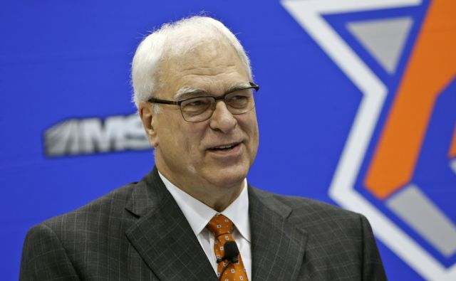 FILE - In this June 3, 2016 file photo, New York Knicks president Phil Jackson, responds to questions during an NBA basketball news conference to announce the hiring of Jeff Hornacek as the head coach in Tarrytown, N.Y.  Jackson has made his relationship