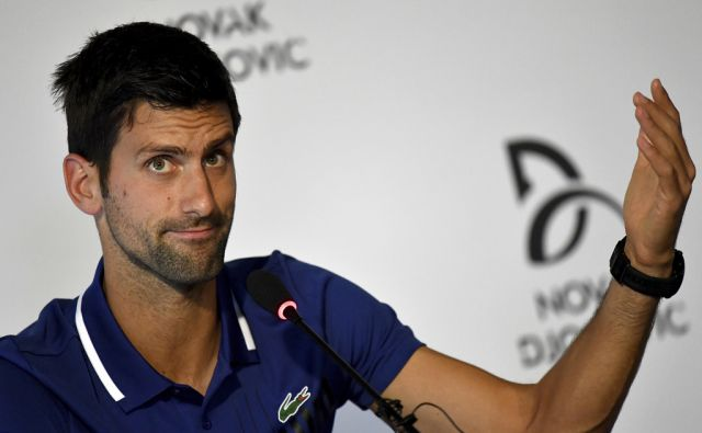Former world No.1 tennis player Novak Djokovic speaks during a press conference in Belgrade, Serbia, Wednesday, July 26, 2017.  Tennis star Novak Djokovic will miss rest of 2017, including U.S. Open, because of injured right elbow. (AP Photo/ AFP/ Andrej
