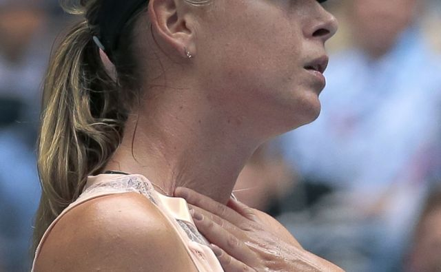 Maria Sharapova, of Russia, reacts after giving up a point to Anastasija Sevastova, of Latvia, during the fourth round of the U.S. Open tennis tournament, Sunday, Sept. 3, 2017, in New York. (AP Photo/Andres Kudacki)