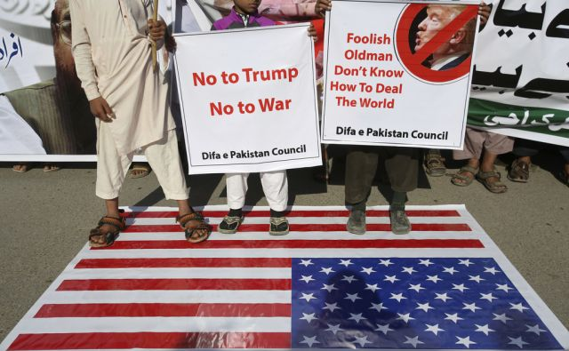 Supporters of Pakistani religious group rally to condemn a tweet by U.S. President Donald Trump in Karachi, Pakistan, Tuesday, Jan. 2, 2018. Trump slammed Pakistan for 'lies & deceit' in a New Year's Day tweet that said Islamabad had played U.S. leaders