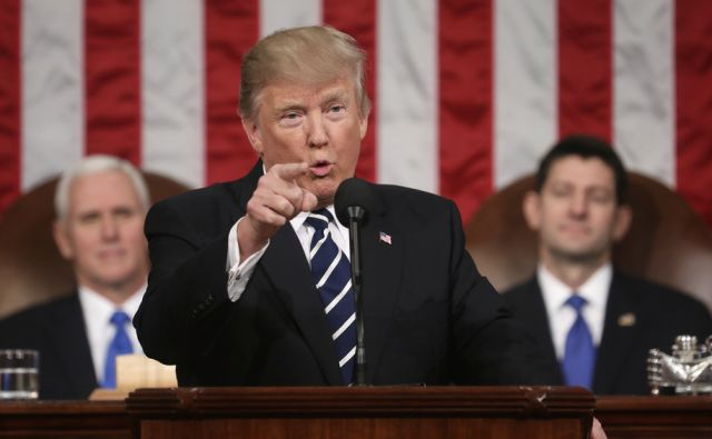 US President Donald J. Trump delivers his first address to a joint session of Congress from the floor of the House of Representatives in Washington, DC, USA, 28 February 2017.  Traditionally the first address to a joint session of Congress by a