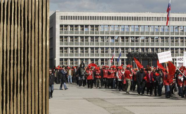 Ljubljana 29.2.2012, protest Zveze svobodnih sindikatov Slovenije  foto;Tomi Lombar