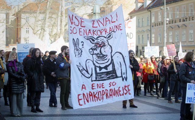Protest javnega sektorja 24.1.2018 Ljubljana Slovenija [protesti,javni sektor,Ljubljana,Slovenija]
