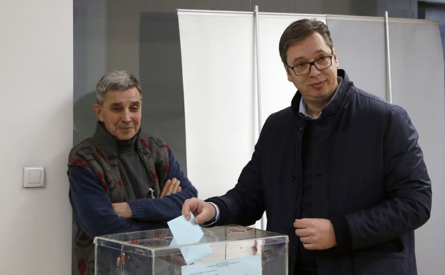 Serbia's President Aleksandar Vucic casts his ballot for the local elections at a polling station in Belgrade, Serbia, Sunday, March 4, 2018. Serbia's liberal opposition sees Sunday's municipal assembly election as a chance to weaken Vucic. It has