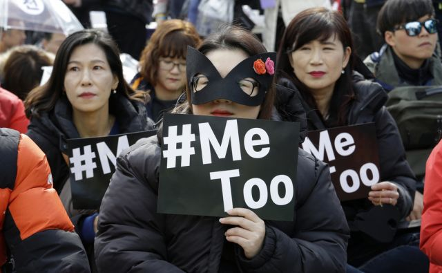 Female workers supporting the MeToo movement attend a rally to mark the International Women's Day in Seoul, South Korea, Thursday, March 8, 2018. (AP Photo/Ahn Young-joon)