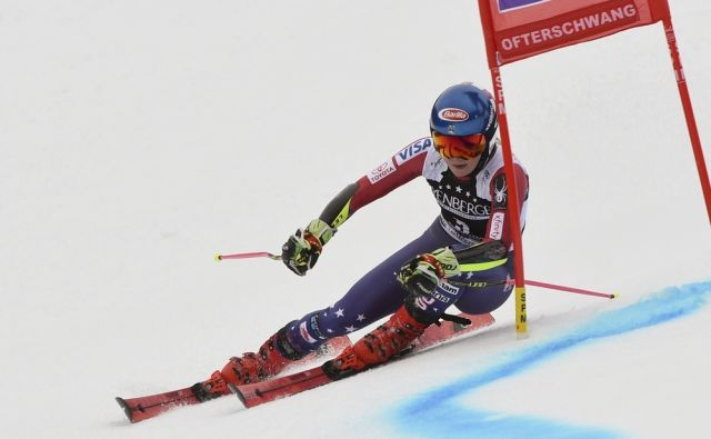 United States' Mikaela Shiffrin speeds down the course during an alpine ski, women's World Cup giant slalom, in Ofterschwang, Germany, Friday, March 9, 2018. (AP Photo/Marco Tacca)