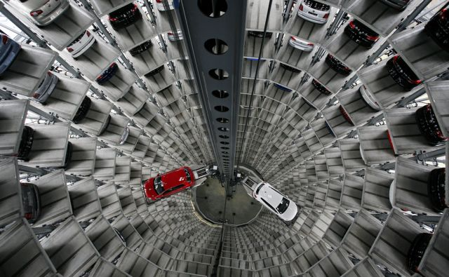 VOLKSWAGEN/ New Volkswagen cars are stored at Car storage Towers at Volkswagen plant in Wolfsburg