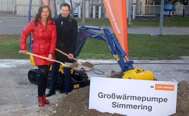 Spatenstich zum Bau der neuen Großwärmepumpe Simmering mit Stadträtin Ulli Sima und Wien Energie GF Ing. Karl Gruber, im Kraftwerk Simmering.