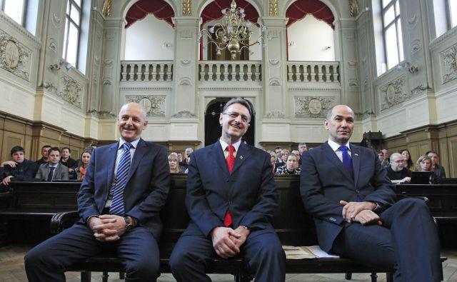 Ivan Črnkovič, Tone Krkovič in Janez Janša na sodišču v Ljubljani, 19. marca 2014